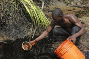 A villager collects samples of crude oil polluting a farmland in Ibeno in Nigeria's Akwa Ibom State November 15, 2012. REUTERS/Tife Owolabi