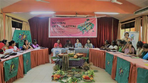 Encuentro Mundial de Articulación de Mujeres, organizado por La Via Campesina, movimiento internacional de campesinas,comenzó el 22 de noviembre. Foto : Vyshakh T/ PeoplesDispatch.