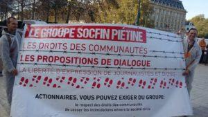 Una de las pancartas de las protestas. Foto: AEFJN.