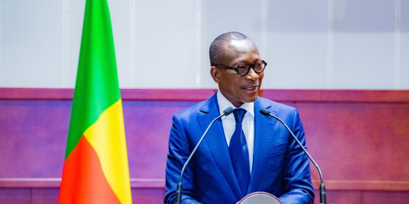 El presidente Patrice Talon, en la apertura del diálogo político. Foto: Presidencia de Benín (recuperada por Jeune Afrique).