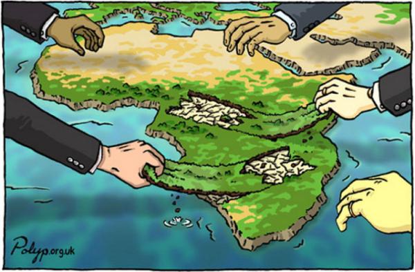 La riqueza en materia de recursos de África ha sido esquilmada por los países enriquecidos. Viñeta: : Polyp Cartoons, Polyp.org.uk (recuperada por CADTM).