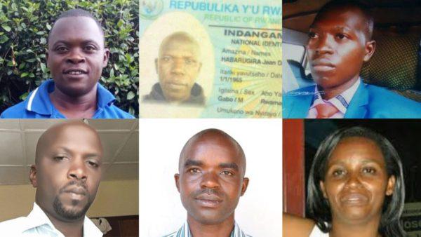 De izquierda a derecha: Anselme Mutuyimana, asesinado por estrangulación el 9 de marzo de 2019; Jean Damascène Habarugira, asesinado el 8 de mayo de 2017; Eugene Ndereyimana, desaparecido desde el 15 de julio de 2019; Boniface Twagirimana, desaparecido desde el 8 de octubre de 2018; Syridion Dusabumuremyi, asesinado el 23 de septiembre de 2019; Illuminée Iragena, desaparecida desde el 26 de marzo de 2016. Foto: Jambonews.